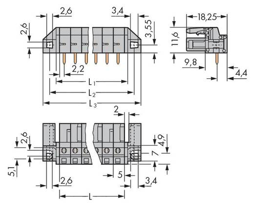 Busbehuizing-board 232 Totaal aantal polen 8 WAGO 232-238/047-000 Rastermaat: 5 mm 50 stuks