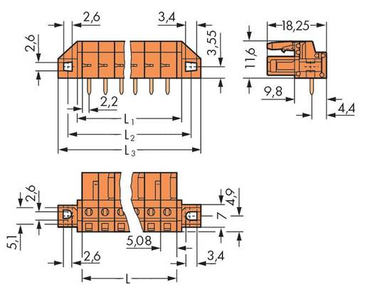 Busbehuizing-board 232 Totaal aantal polen 22 WAGO 232-282/031-000 Rastermaat: 5.08 mm 10 stuks
