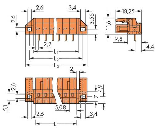 WAGO 232-262/047-000 Busbehuizing-board 232 Totaal aantal polen 2 Rastermaat: 5.08 mm 100 stuks