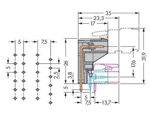 WAGO 232-335 Male header (standaard) 301 Totaal aantal polen 5 Rastermaat: 5 mm 100 stuks