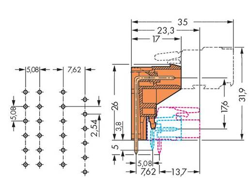 WAGO 232-376 Male header (standaard) 301 Totaal aantal polen 16 Rastermaat: 5.08 mm 25 stuks