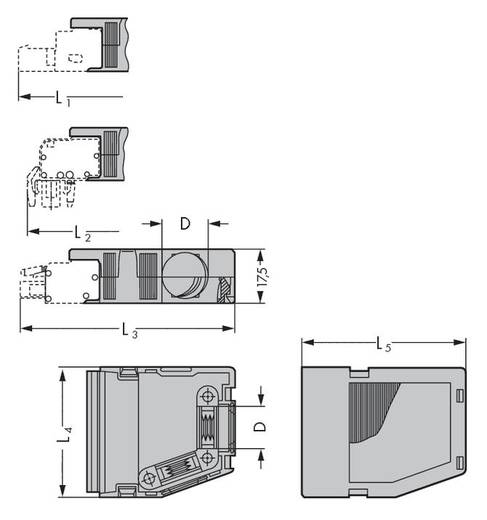 WAGO 232-636 Vastklikbare trekontlastingsbehuizing Inhoud: 25 stuks