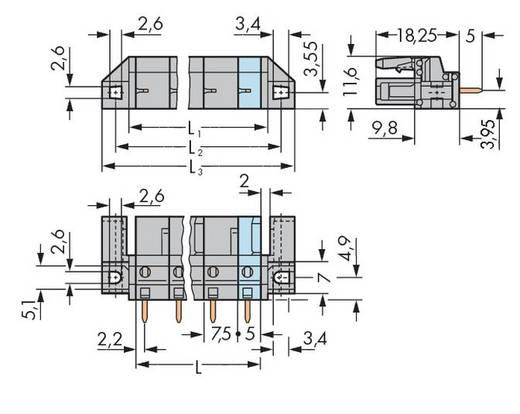Busbehuizing-board 232 Totaal aantal polen 3 WAGO 232-733/047-000 Rastermaat: 7.50 mm 50 stuks