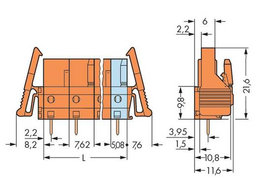 WAGO 232-766/039-000 Busbehuizing-board 232 Totaal aantal polen 6 Rastermaat: 7.62 mm 25 stuks
