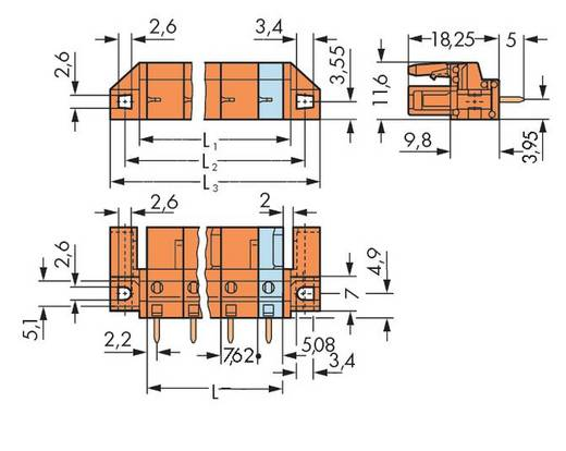 WAGO 232-764/047-000 Busbehuizing-board 232 Totaal aantal polen 4 Rastermaat: 7.62 mm 50 stuks
