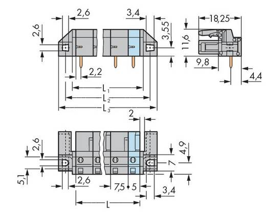 Busbehuizing-board 232 Totaal aantal polen 2 WAGO 232-832/047-000 Rastermaat: 7.50 mm 50 stuks