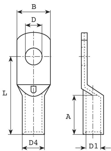 Vogt Verbindungstechnik 3416A Buiskabelschoen 180 ° M6 10 mm² Gat diameter: 6.5 mm 1 stuks