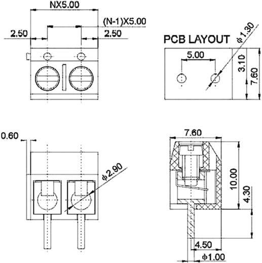 Klemschroefblok 1.50 mm² Aantal polen 3 DG301-5.0-03P-12 Degson Blauw 1 stuks