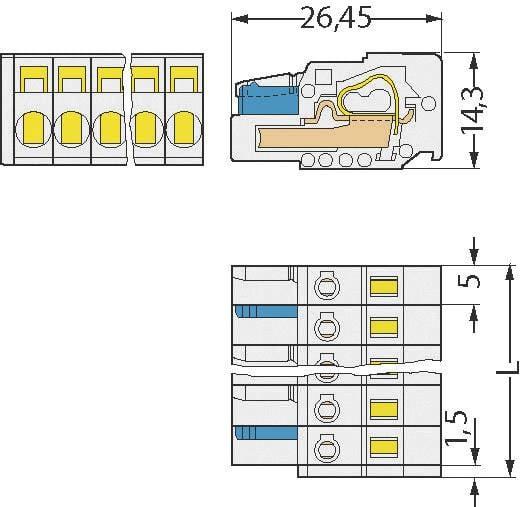WAGO 721-102/026-000 Busbehuizing-kabel 721 Totaal aantal polen 2 Rastermaat: 5 mm 1 stuks