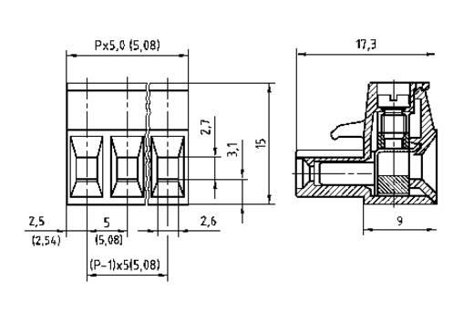 Busbehuizing-kabel AK(Z)950 Totaal aantal polen 6 PTR 50950060001E Rastermaat: 5 mm 1 stuks