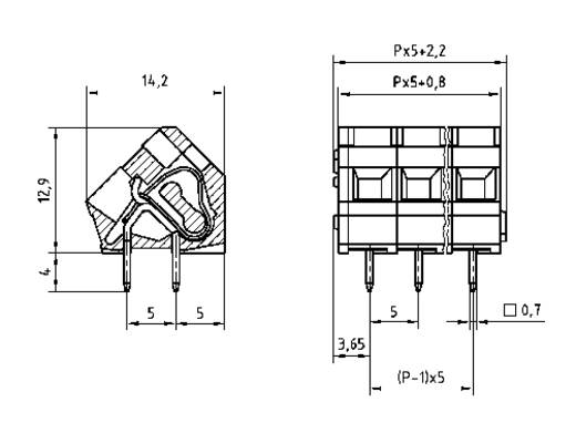 Veerkachtklemblok 2.50 mm² Aantal polen 8 AK3000/8-5.0 PTR Kiezel-grijs 1 stuks