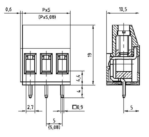 Klemschroefblok 2.50 mm² Aantal polen 5 AKZ700/5-5.08-V PTR Groen 1 stuks