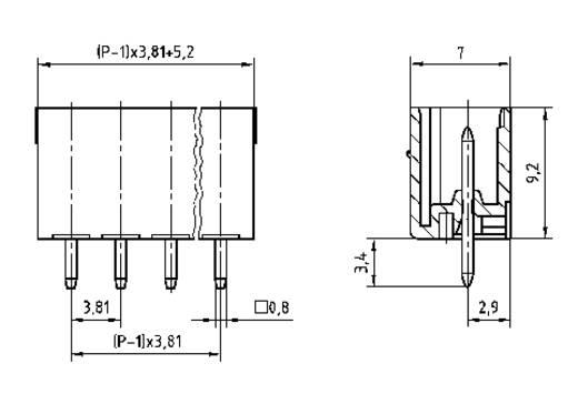Penbehuizing-board STL(Z)1550 Totaal aantal polen 7 PTR 51550075335E Rastermaat: 3.81 mm 1 stuks