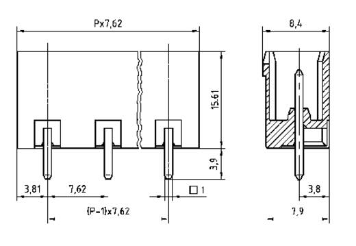 Penbehuizing-board STLZ960 Totaal aantal polen 8 PTR 50960085121D Rastermaat: 7.62 mm 1 stuks