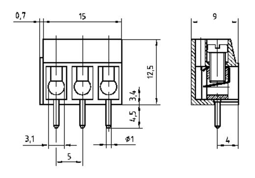 Klemschroefblok 2.50 mm² Aantal polen 5 AK100/5DS-5.0-V PTR Grijs 1 stuks
