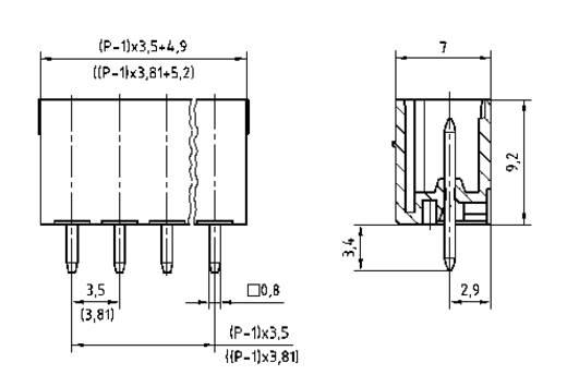 PTR 51550065125E Penbehuizing-board STL(Z)1550 Totaal aantal polen 6 Rastermaat: 3.81 mm 1 stuks