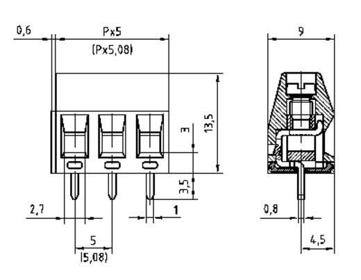 Klemschroefblok 1.50 mm² Aantal polen 3 AKZ350/3-5,08-V PTR Groen 1 stuks