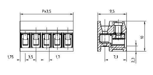 Klemschroefblok 1.50 mm² Aantal polen 4 AK1350/4DS-3.5 PTR Grijs 1 stuks