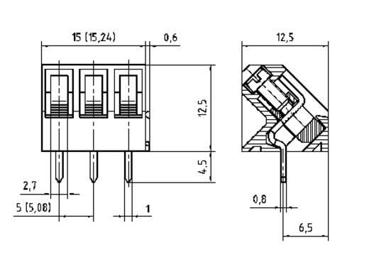 Klemschroefblok 1.50 mm² Aantal polen 3 AK300/3-5.0 PTR Grijs 1 stuks