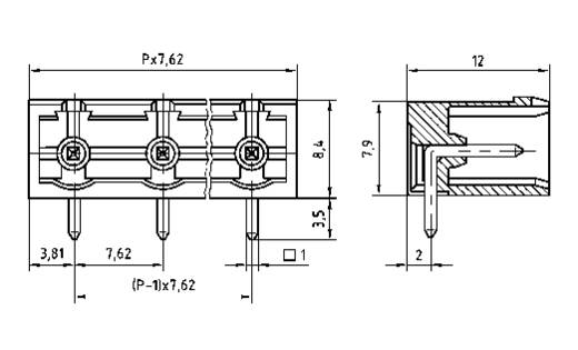 Penbehuizing-board Totaal aantal polen 12 PTR 50960125021D<