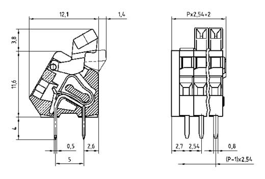 Veerkachtklemblok 0.50 mm² Aantal polen 6 AKZ3191/6KD-2.54 PTR Oranje 1 stuks