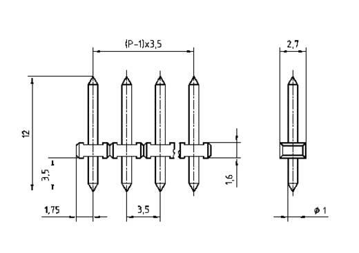Male header, inbouw (precisie) Aantal rijen: 1 Aantal polen per rij: 5 PTR 51350055001G 1 stuks
