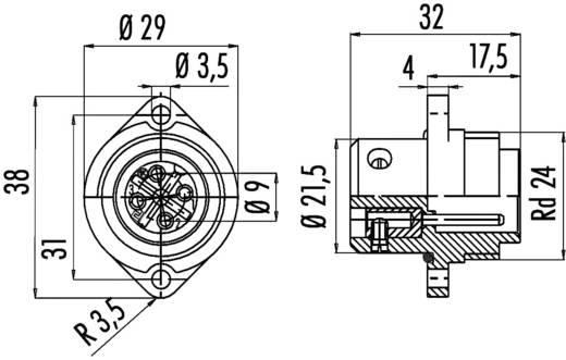 Standaard ronde stekkerverbinding serie 693 Aantal polen: 6 + PE Flensstekker 10 A 09-4227-00-07 Binder 1 stuks