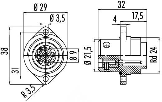 Standaard ronde stekkerverbinding serie 692 Aantal polen: 6 + PE Flensstekker 10 A 09-0219-00-07 Binder 1 stuks