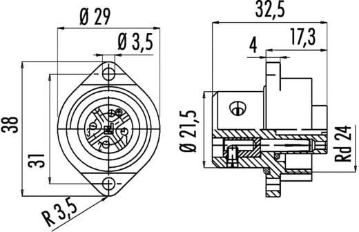 Standaard ronde stekkerverbinding serie 692 Aantal polen: 6 + PE Flensstekker 10 A 09-0220-00-07 Binder 1 stuks