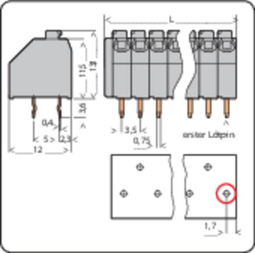 Veerkachtklemblok 1.50 mm² Aantal polen 9 WAGO Grijs 1 stuks
