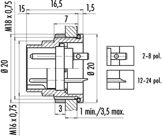 Ronde miniatuurstekker serie 723 Aantal polen: 3 DIN Flensstekker 7 A 09-0107-80-03 Binder 1 stuks