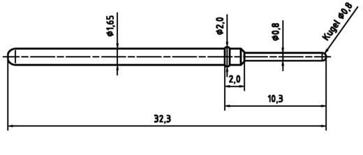 PTR 2021-D-1.5N-AU-0.8 Precisietestpen voor printplaatcontrole met veercontact
