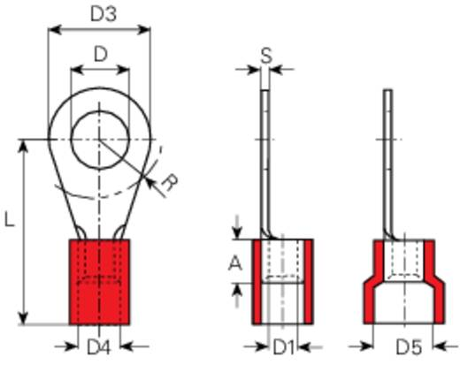 Vogt Verbindungstechnik 3609A Ringkabelschoen Dwarsdoorsnede (max.): 1 mm² Gat diameter: 4.3 mm Deels geïsoleerd Rood 1 stuks