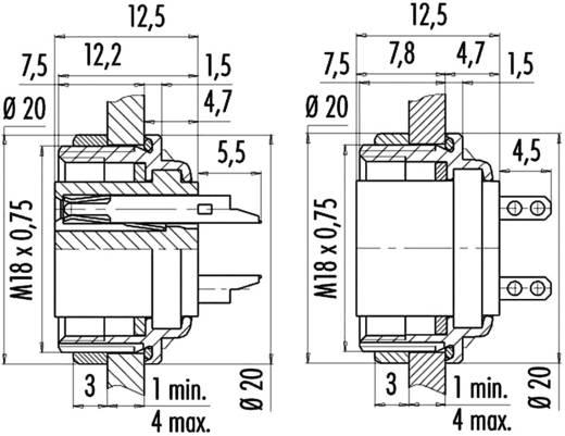 Miniatuur ronde stekker serie 723 Plattedoos Binder 09-0112-80-04 IP67 Aantal polen: 4