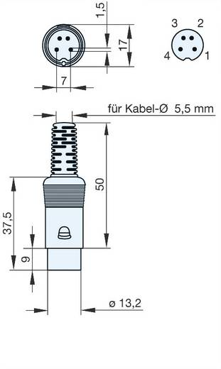 Hirschmann MAS 40. DIN-connector Stekker, recht Aantal polen: 4 Grijs 1 stuks