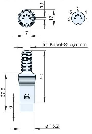 Hirschmann MAS 50 S DIN-connector Stekker, recht Aantal polen: 5 Grijs 1 stuks