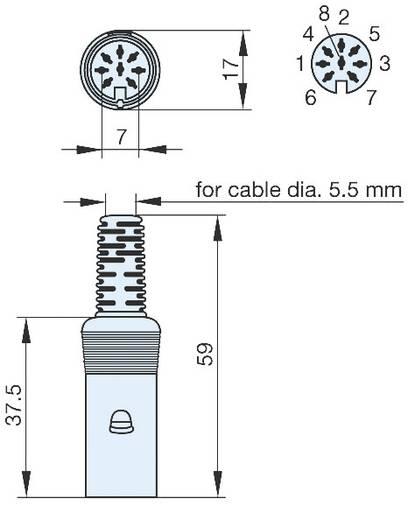 Hirschmann MAK 80 SN DIN-connector Bus, recht Aantal polen: 8 Grijs 1 stuks
