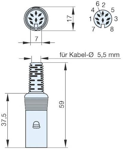 Hirschmann MAK 80 S DIN-connector Bus, recht Aantal polen: 8 Grijs 1 stuks