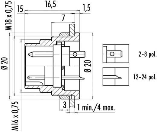 Ronde miniatuurstekker serie 682 Flensstekker Binder 09-0307-80-03 IP40 Aantal polen: 3 DIN