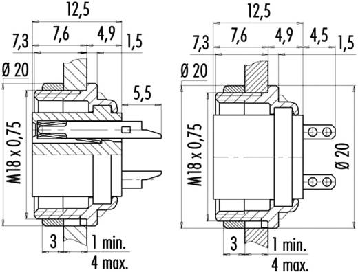 Ronde miniatuurstekker serie 682 Aantal polen: 4 Flensdoos 6 A 09-0312-80-04 Binder 1 stuks