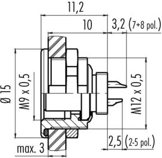 Ronde subminiatuurconnector serie 712 Flensdoos Binder 09-0412-00-04 IP67 Aantal polen: 4