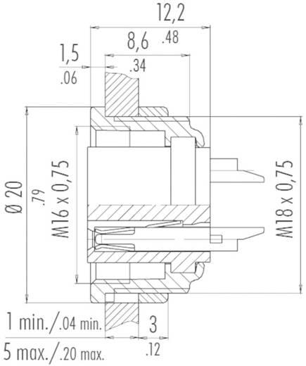 Miniatuur ronde stekker serie 680 Apparaatdoos. Binder 09-0316-00-05 IP40 Aantal polen: 5 DIN