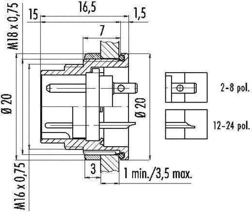 Miniatuur ronde stekker serie 723 Aantal polen: 6 DIN Flensstekker 6 A 09-0123-00-06 Binder 1 stuks