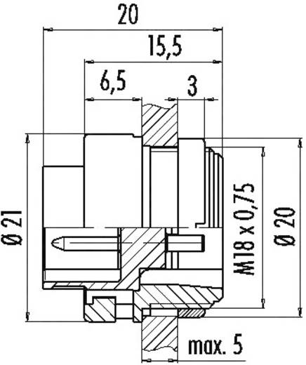 Miniatuur ronde stekker serie 678 Flensstekker Binder 99-0619-00-06 IP40 Aantal polen: 6