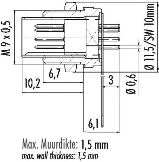 Subminiatuur ronde stekker serie 711 Flensstekker Binder 09-0081-00-04 IP40 Aantal polen: 4