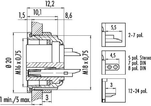 Miniatuur ronde stekker serie 723 Aantal polen: 7 Flensdoos 5 A 09-0128-00-07 Binder 1 stuks