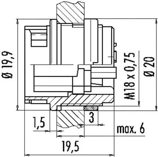 Miniatuur ronde stekker serie 678 Aantal polen: 6 Flensstekker 6 A 99-000-06 Binder 1 stuks