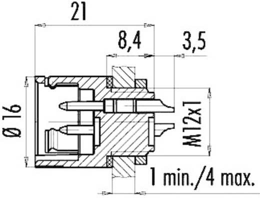 Miniatuur ronde stekker, serie 720 Flensstekker Binder 99-9127-00-08 IP67 Aantal polen: 8
