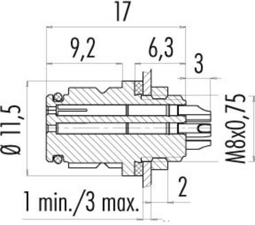 Subminiatuur ronde stekker serie 620 Flensdoos Binder 99-9208-00-03 IP67 Aantal polen: 3