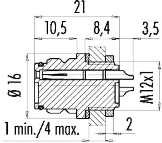 Miniatuur ronde stekker serie 720 Aantal polen: 8 Flensdoos 2 A 99-9128-00-08 Binder 1 stuks